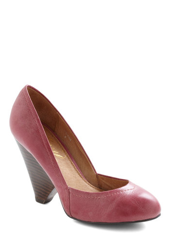 Sangria Punch Heel - Red, Solid, Work, 50s, High, Leather, Pink