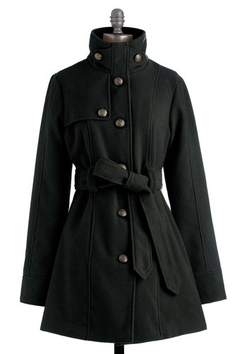 South Bank Stroll Coat in Black by Jack by BB Dakota - Black, Solid, Buttons, Pockets, Long Sleeve, Belted, Military, Fall, Winter, 3, Long