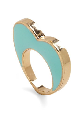 I Heart You Ring - Blue, Gold, Solid, Quirky