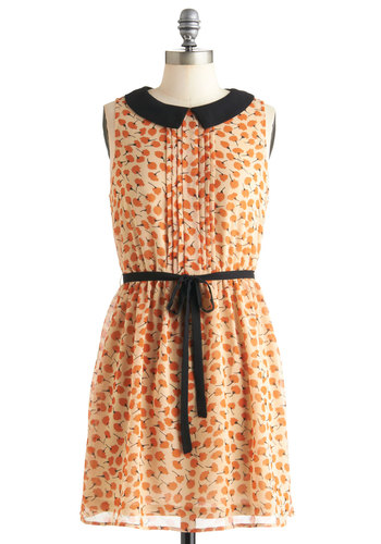 Lend Me Your Cheers Dress - Mid-length, Orange, Black, Floral, Peter Pan Collar, Pleats, A-line, Sleeveless, Belted, Casual, Vintage Inspired, Collared