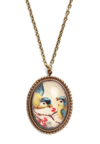 Beak You To It Necklace - Multi, Gold, Print with Animals, Fairytale, French / Victorian