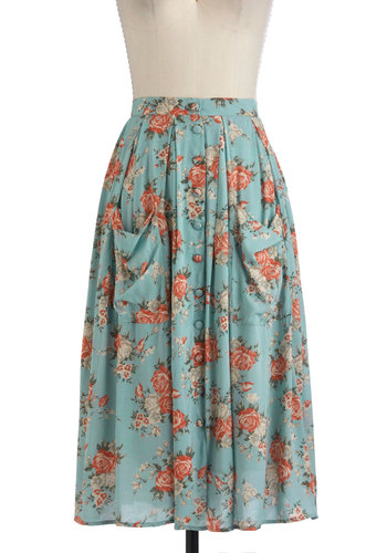 Sweet Tea Time Skirt - Long, Blue, Multi, Floral, Pockets, Boho, A-line, Casual, 90s, Spring