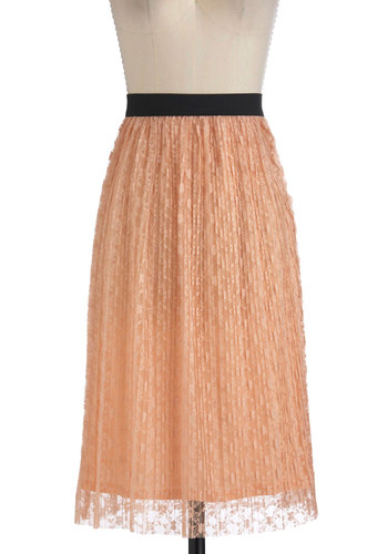 Peach, Love, and Understanding Skirt - Long, Orange, Black, Lace, Casual, A-line, Film Noir, French / Victorian, Pastel