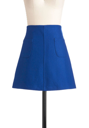 Grand Turi Skirt - Blue, Solid, Pockets, A-line, Short, Work, Casual, 60s, Fall