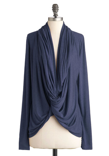 Lakeside Escape Cardigan in Blue - Blue, Solid, Casual, Long Sleeve, Fall, Rustic, Mid-length