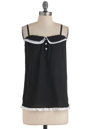 Dreams' Best Dressed Sleep Top - Black, White, Buttons, Casual, Vintage Inspired, Spaghetti Straps, Exclusives, Tis the Season Sale