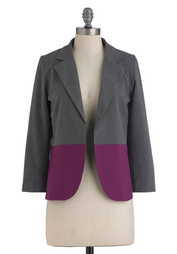 Berry Professional Blazer - Grey, Purple, Work, Casual, Menswear Inspired, Long Sleeve, Short, 1