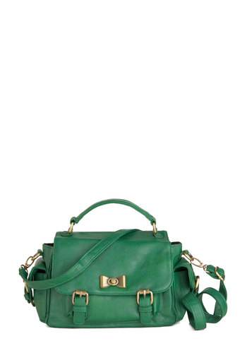 Verde and Night Bag - Green, Solid, Bows, Buckles, Casual, Faux Leather