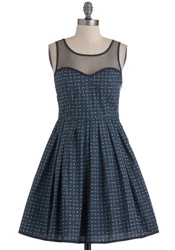 Dot a Worry in the World Dress - Mid-length, Blue, Polka Dots, Party, Vintage Inspired, Sleeveless, Fit & Flare, Sheer, Cotton, Sweetheart