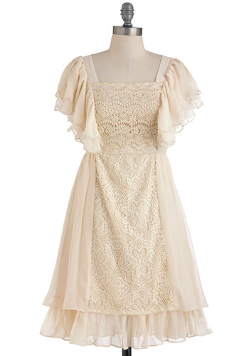 Just As You Dreamt Dress by Ryu - Mid-length, Cream, Lace, Casual, Vintage Inspired, Empire, Short Sleeves, French / Victorian, Steampunk