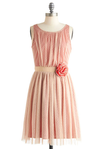 Subtle Sizzle Dress by Ryu - Mid-length, Pink, Polka Dots, Flower, Party, A-line, Sleeveless, Pastel