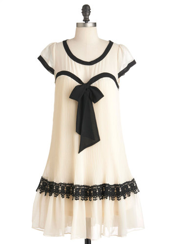 Tap For Us Dress by Ryu - Mid-length, Cream, Black, Bows, Lace, Party, 20s, Tent / Trapeze, Short Sleeves, French / Victorian