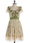 Vine All Mine Dress by Ryu - Mid-length, Cream, Green, Lace, Ruffles, Party, Vintage Inspired, A-line, Short Sleeves, Fairytale, Daytime Party