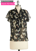 BTB CAPSLV FLORAL TOP W/ TIE N in Black