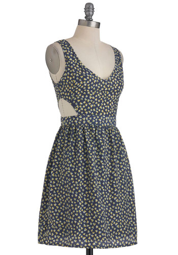 Cutout of the Ordinary Dress - Mid-length, Blue, Yellow, Green, White, Print, Cutout, Exposed zipper, Casual, A-line, Sleeveless, Summer, V Neck, Tis the Season Sale