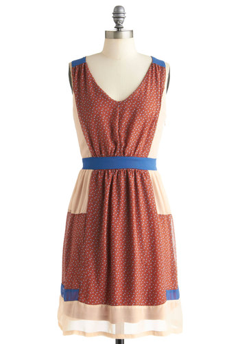 Craft a Story Dress by Ryu - Mid-length, Red, Blue, Tan / Cream, Casual, Sleeveless, Rustic, Sheer, V Neck, Tis the Season Sale