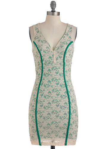 Season of Mist Dress - Mid-length, Green, Tan / Cream, Backless, Lace, Party, Sleeveless, Girls Night Out, Shift, Bodycon / Bandage, V Neck