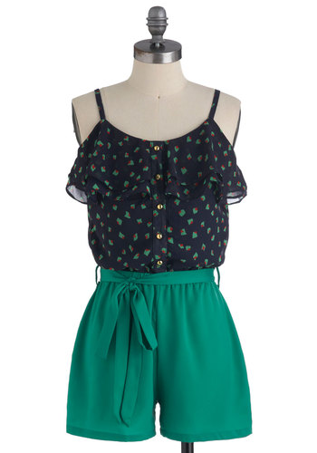 Olive My Friends and I Romper - Green, Blue, Red, Buttons, Ruffles, Casual, Spaghetti Straps, Summer, Long