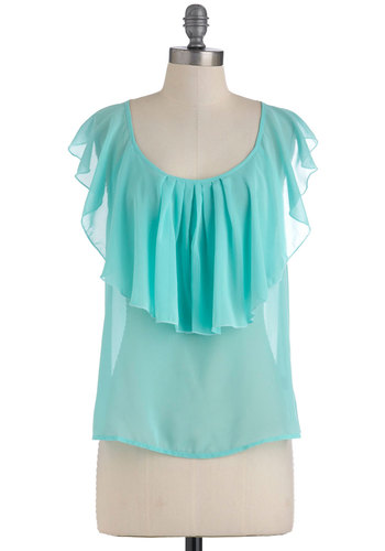 Swift and Shore Top - Solid, Ruffles, Work, Casual, Short Sleeves, Mid-length, Blue, Pastel, Sheer, Mint