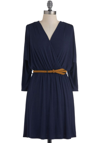 The Surplice is Right Dress - Short, Blue, Solid, Casual, A-line, Long Sleeve, Fall, Belted, Jersey, Ruching