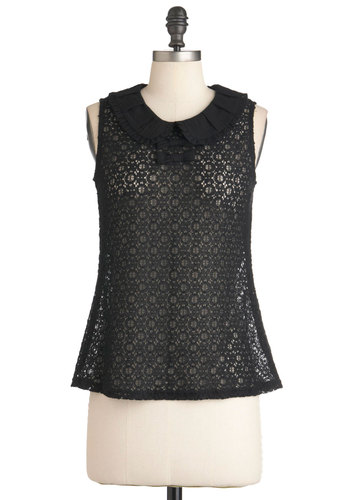 I'm in Louvre Top - Mid-length, Black, Bows, Peter Pan Collar, Sleeveless, Solid, French / Victorian, Steampunk, Sheer, Collared, Variation