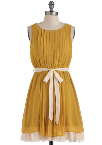 Pleats, Love, and Harmony Dress - Short, Yellow, Solid, Pleats, Party, A-line, Sleeveless, Belted, White, Wedding, Bridesmaid