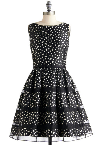 Rosé Bubbly Dress in Noir - Mid-length, Black, White, Polka Dots, Formal, Film Noir, Vintage Inspired, A-line, Sleeveless, Cocktail, Belted, Fit & Flare, Prom