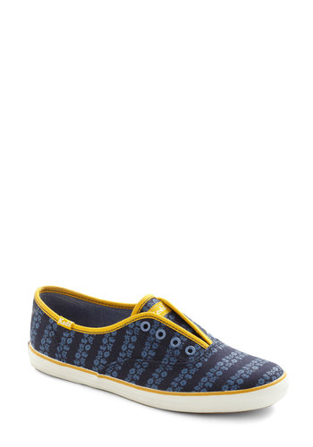 Its Been a Boll Sneaker in Navy - Blue, Flower, Casual, Flat