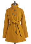 South Bank Stroll Coat in Goldenrod by Jack by BB Dakota - Yellow, Solid, Buttons, Pockets, Long Sleeve, Belted, Military, Fall, Long, Exclusives, 3