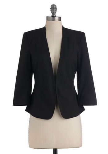 City Sleeker Blazer - Black, Solid, Pockets, Work, Menswear Inspired, 3/4 Sleeve, Mid-length, 1