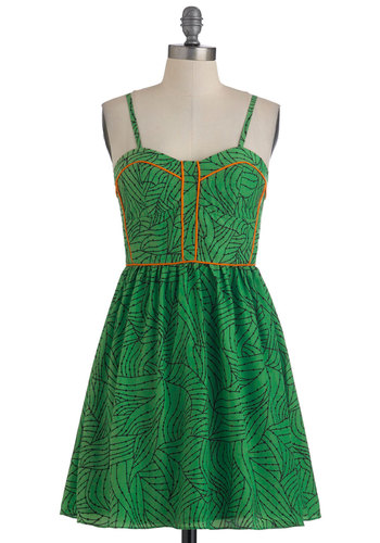 No Leaf Unturned Dress - Short, Green, Orange, Print, Casual, Spaghetti Straps, Summer, Sweetheart, Tis the Season Sale