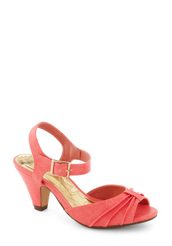 Source of Smiles Heel - Pink, Solid, 50s, Cocktail, Party, Spring, Pastel, Peep Toe, Mid, Coral