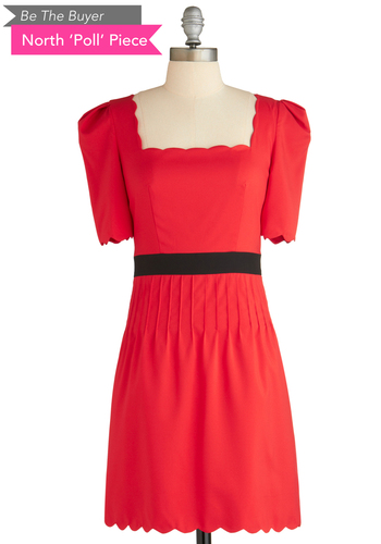 BTB 1/2 SLV DRESS W/ SCALLOP N in Red - Red, Black, Solid, Scallops, Party, A-line, Short Sleeves