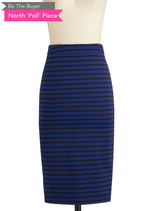 BTB STRIPED MID-CALF PENCIL SK in Blue Stripe