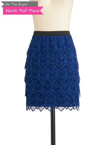 BTB LACE SKIRT in Royal Blue - Blue, Black, Lace, A-line