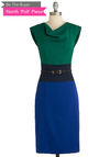 BTB COWL NECK COLOR BLOCK DRES in Green