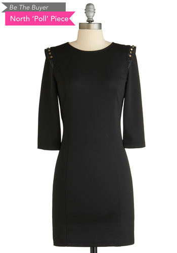 BTB 3/4 STUD SHOULDER DRESS in Black - Black, Solid, Exposed zipper, Studs, Sheath / Shift, Long Sleeve