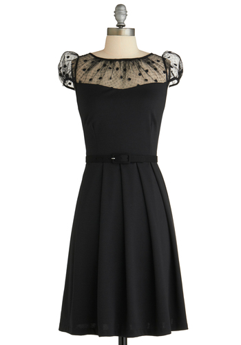 The Missing Ink Dress by Eva Franco - Mid-length, Black, Solid, Pleats, Party, A-line, Cap Sleeves, Belted, Film Noir, Vintage Inspired, Sheer, Fit & Flare