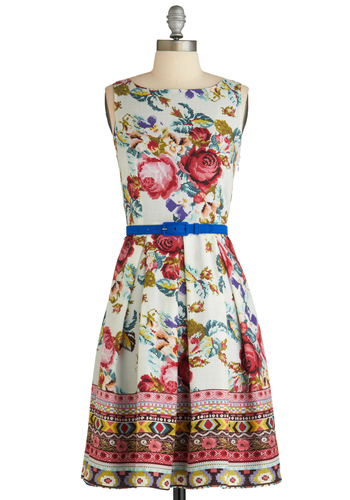 Sew You How Its Done Dress by Eva Franco - Mid-length, Multi, Floral, Pleats, Party, A-line, Sleeveless, Spring, Belted, Luxe, Daytime Party, Fit & Flare