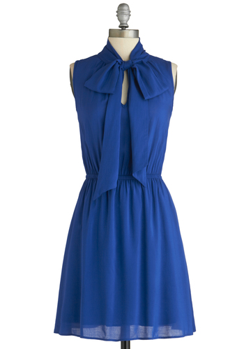 Vibrant On Arrival Dress - Mid-length, Blue, Solid, Party, Casual, Sleeveless