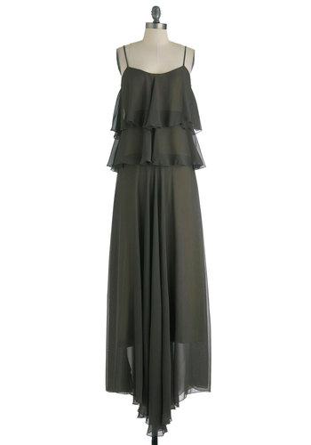 Tier de Force Dress - Long, Grey, Solid, Tiered, Party, Maxi, Spaghetti Straps, Boho, Sheer, Tis the Season Sale
