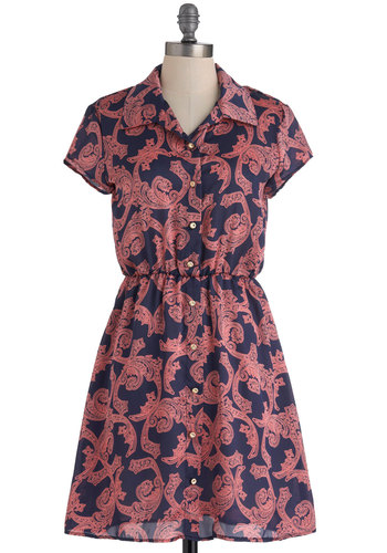 Esplanade Parade Dress - Mid-length, Blue, Pink, Print, Buttons, A-line, Short Sleeves, Casual, Sheer, Button Down, Collared