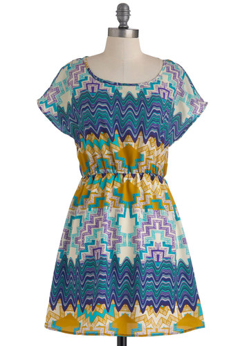Sand Art Showing Dress - Multi, Yellow, Blue, Purple, White, Print, Casual, A-line, Cap Sleeves, Summer, Short