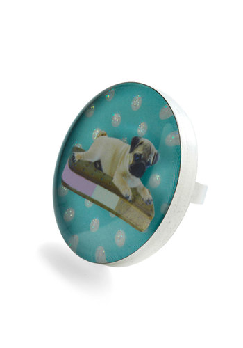 Sandwich is Sweeter? Ring by Locketship - Blue, Multi, Polka Dots, Novelty Print, Casual, Statement, Kawaii, Glitter, Quirky