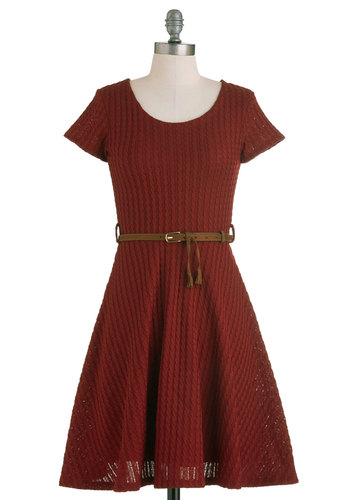 Beautiful Bibliophile Dress - Mid-length, Red, Casual, A-line, Short Sleeves, Fall, Belted, Rustic, Scholastic/Collegiate, Solid