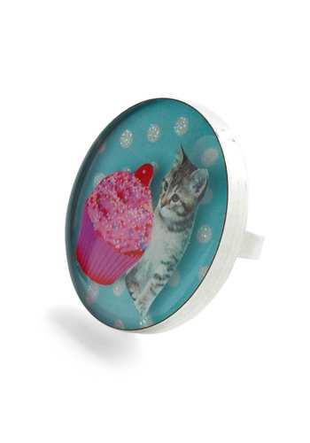 My Cupcake of Tea Ring - Blue, Multi, Polka Dots, Party, Statement, Kawaii, Glitter, Quirky