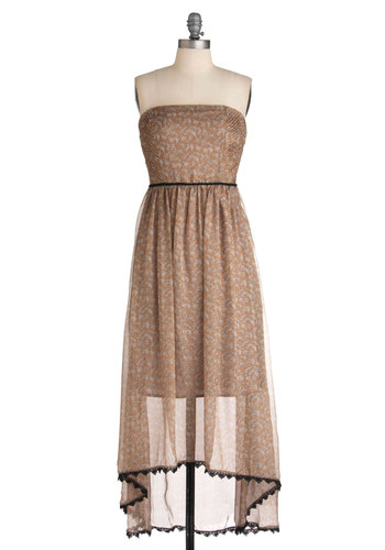 Safari the Eye Can See Dress - Long, Brown, Black, White, Print with Animals, Pleats, Party, Strapless, Summer, High-Low Hem, Trim, Maxi, Sheer, Tis the Season Sale