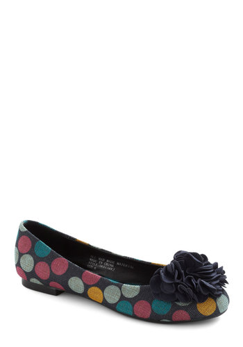 Cake Pop Party Flat in Navy - Blue, Multi, Polka Dots, Flower, Flat