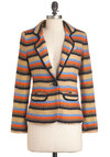 Literary Stripe Blazer - Tan, Orange, Blue, Stripes, Buttons, Pockets, Long Sleeve, Mid-length, Green, Work, Menswear Inspired, Fall, Scholastic/Collegiate, 1
