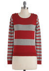 You Make the Rules Sweater - Mid-length, Red, Grey, Stripes, Knitted, Long Sleeve, Casual, Fall, Winter, Tis the Season Sale